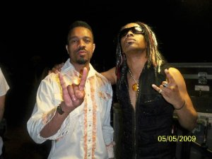 Me, with my dawg Ronkat Spearman (guitar and vocals) on stage before curtains opened.