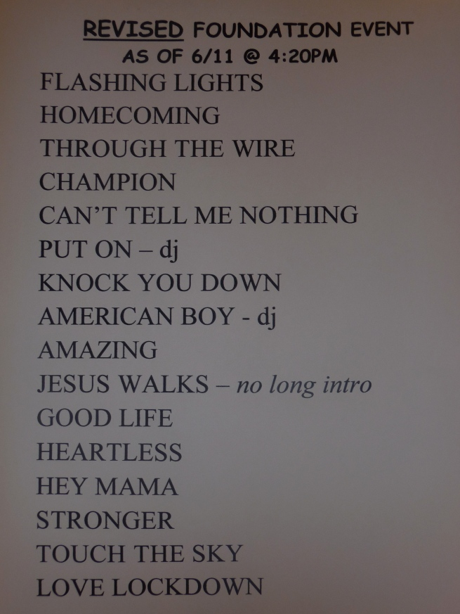 check the set list..