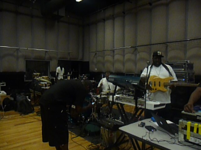 We started out in L.A. learning the new show.  This is the band at Center Stage Sound Studios getting ready.  Also in the other studios where all the acts preparing for the B.E.T. Awards and it was so crazy to here everybody playing Michael Jackson songs and just killin 'em.... R.I.P. Mike!!!